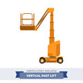 Aerial man vertical mast lift crane Royalty Free Stock Photo
