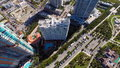 Aerial miami beach architecture video of highrise condominium portofino in Stock Photo