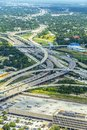 Aerial of modern highway, bridges, infrastructure and streets in Royalty Free Stock Photo