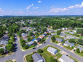 Aerial of a Neighborhood in Parkville in Baltimore County, Maryland Royalty Free Stock Photo