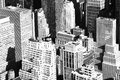 Aerial new york city buildings in black and white Stock Photos