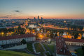 Aerial night panorama of Vilnius, Lithuania Royalty Free Stock Photo
