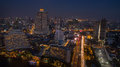Aerial night scene of bangkok sky scraper beside chaopraya river Royalty Free Stock Photo