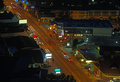 Aerial night view of the main road through gatlinburg tennessee downtown viewed from above at Stock Photos