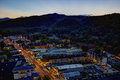 Aerial night view of the main road through gatlinburg tennessee high dynamic range image downtown viewed from above at Royalty Free Stock Photography