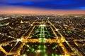 Aerial Night view of Paris Royalty Free Stock Photo