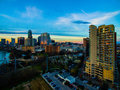 Aerial Over Austin Texas Colorful Towers and Condominiums Cityscape Skyline Sunset over Downtown Royalty Free Stock Photo
