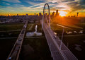 Aerial Over Bridges Dallas Texas Dramatic Sunrise Margaret Hunt Hill Bridge and Reunion Tower Royalty Free Stock Photo