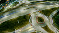 Aerial over highway interchange near green bay wisconsin Royalty Free Stock Photo