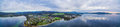 Aerial panorama of North West Bay and Snug, Tasmania Royalty Free Stock Photo