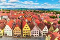 Aerial panorama of rothenburg ob der tauber germany scenic summer the old town architecture and market square in bavaria Stock Photos
