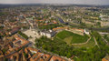 AERIAL. Panorama shot of old town in capital of Lithuania, Vilnius Royalty Free Stock Photo