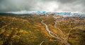 Aerial panorama of Snowy River and mountains at Kosciuszko Natio Royalty Free Stock Photo