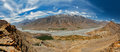 Aerial panorama of spiti valley and key gompa in himalayas himachal pradesh india Stock Image
