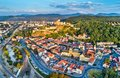 Aerial panorama of Trencin, a town in Slovakia