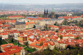 Aerial panoramic view of the historic center of Prague. Royalty Free Stock Photo