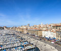 Aerial panoramic view on old port in Marseille Royalty Free Stock Photo