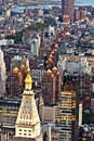 Aerial panoramic view over upper manhattan from empire state bui building top new york Stock Photos