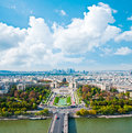Aerial panoramic view of paris and seine river as seen from eiffel tower in france Stock Image