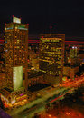 Aerial panoramic view at Warsaw downtown by night, from the top of Palace of Culture and Science, Warsaw, Poland Royalty Free Stock Photo