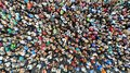 Aerial. People crowd background. Mass gathering of many people in one place. Top view