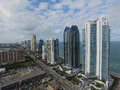 Aerial photo of highrise condominiums on the ocean Royalty Free Stock Photo