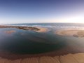 Aerial photo of the mouth of the murray river photograph in south australia flows out to ocean with sandbars all around Stock Images