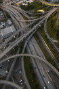 Aerial photograph american freeway intersection of cars driving on an highway interstate road junction Stock Photo