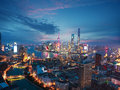 Aerial photography at Shanghai bund Skyline of dusk Royalty Free Stock Photo