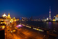 Aerial photography at Shanghai bund Skyline of night scene Royalty Free Stock Photo