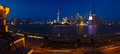 Aerial photography at Shanghai bund Skyline of panorama night scene Royalty Free Stock Photo