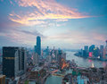 Aerial photography at Shanghai bund Skyline of twilight