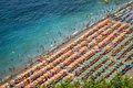 Aerial photography of tourists playing and taking sunbath on a s Royalty Free Stock Photo