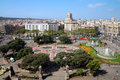 Aerial of placa catalunya barcelona spain august de seen from the rooftop a shopping center during daytime de Royalty Free Stock Photography