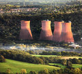 Aerial power station view of a uk surrounded by rural countryside and village ironbridge shropshire Royalty Free Stock Photo