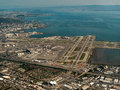 Aerial san francisco airport with the bay in the background Royalty Free Stock Images