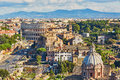 Aerial scenic view of Colosseum and Roman Forum in Rome, Italy Royalty Free Stock Photo