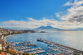 Aerial scenic view of Naples with Vesuvius volcano at sunrise Royalty Free Stock Photo