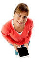 Aerial shot of a lady using tablet pc pretty holding new Stock Photography