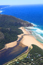Aerial shot of natures valley in the garden route south africa Stock Photo