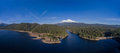 Aerial - Siskiyou Lake and Mount Shasta, California Royalty Free Stock Photo