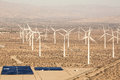 Aerial Solar Farm and Turbines in California Desert Royalty Free Stock Photo