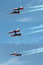 Aerial stunt at air payerne switzerland september patrouille suisse acrobatic team performing an military airport during the Stock Photo