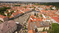 AERIAL. Sunny  shot above Town Hall Square of Vilnius old Royalty Free Stock Photo