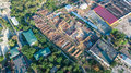 Aerial top view of industrial park zone from above, factory chimneys and warehouses, industry district Royalty Free Stock Photo