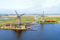 Aerial from traditional windmills at Zaanse Schans in Nether Royalty Free Stock Photo
