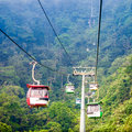 Aerial tramway moving up in tropical jungle mountains Stock Photography