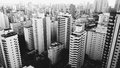 Aerial urban skyline in black and white