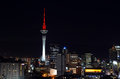 Aerial urban view of auckland financial center skyline cbd at ni aug with the sky tower night new zealand has th Stock Photography