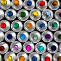 Aerial view of aerosol cans Stock Images